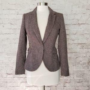 H&M Brown Confetti Herringbone Tweed Blazer Jacket